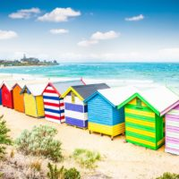 Beautiful Bathing houses on white sandy beach at Brighton beach in Melbourne